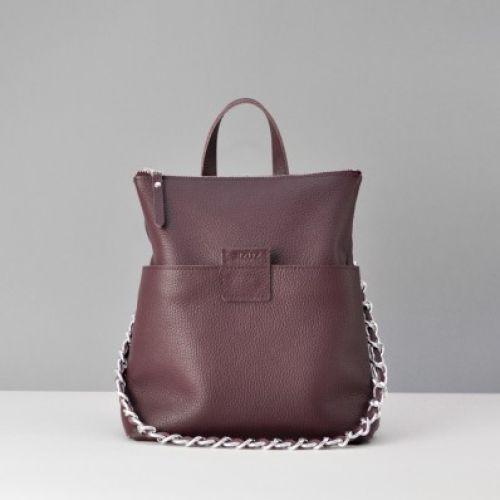 Женская кожаная сумка-рюкзак K-2 burgundy фиолетовая