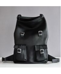 Кожаный рюкзак Mount Black черный