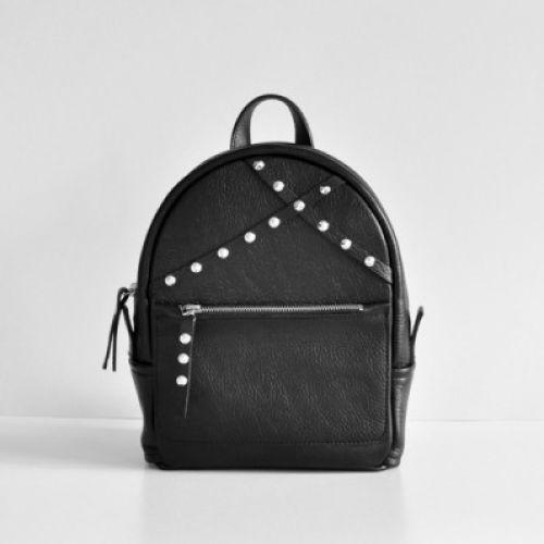 Женский кожаный рюкзак Sakura black черный
