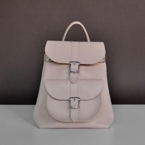 Женский кожаный рюкзак Сlassik Nude бежевый
