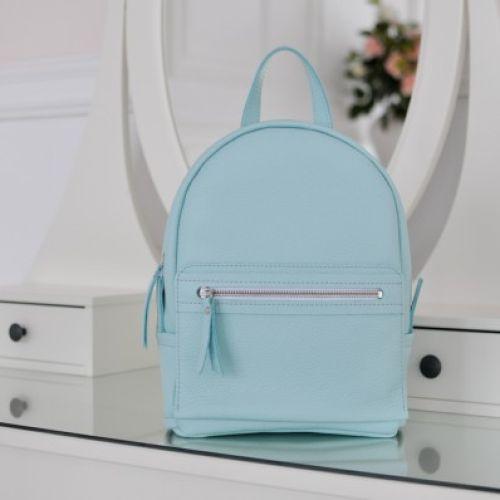 Женский кожаный рюкзак Sport Aqua голубой