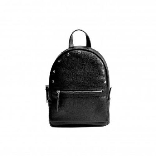 Женский кожаный рюкзак Sport Black-R черный