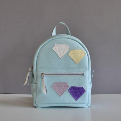 Женский кожаный рюкзак Sport Crystal голубой