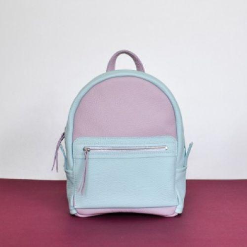 Женский кожаный рюкзак Sport Double голубой