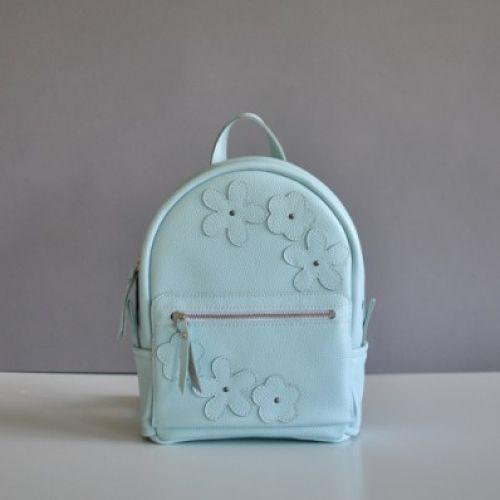 Женский кожаный рюкзак Sport Flowers голубой