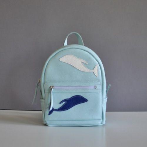 Женский кожаный рюкзак Sport kit голубой