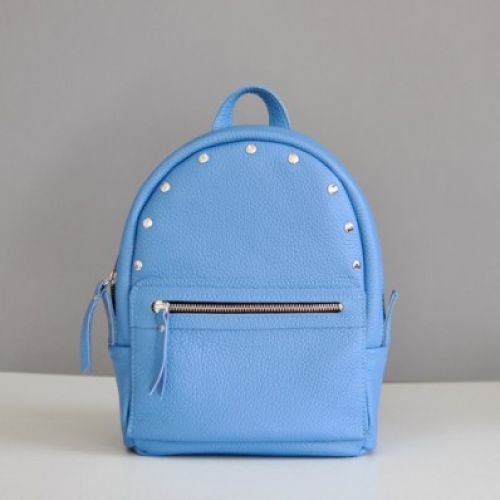 Женский кожаный рюкзак Sport Sky-R голубой