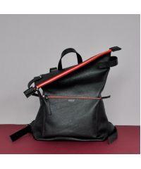Кожаный рюкзак Voyager Black-Red черный