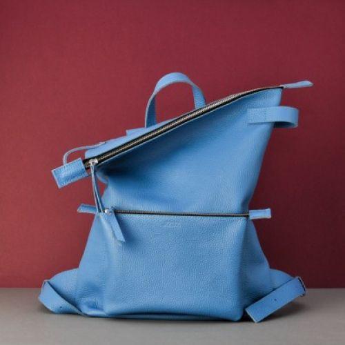 Кожаный рюкзак Voyager Blue голубой