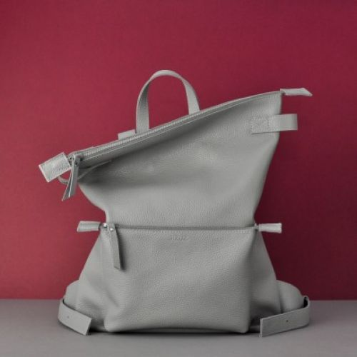 Кожаный рюкзак Voyager Gray серый
