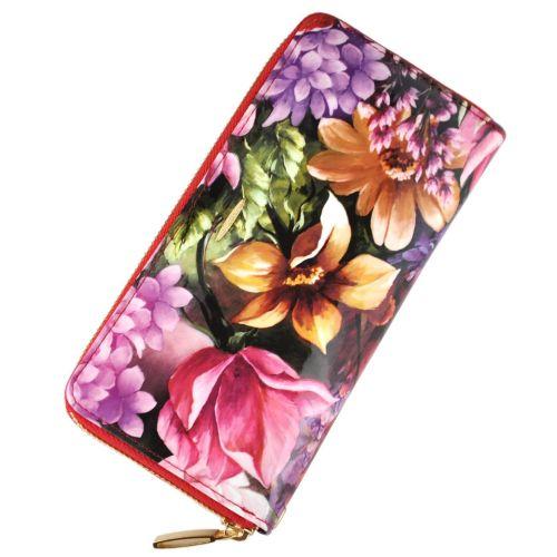 Женский кошелек Майский букет кожаный на молнии цветной