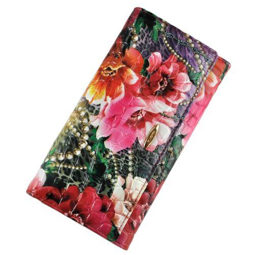 Женский кошелек букет с бусами кожаный классика
