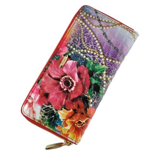 Женский кошелек букет с бусами кожаный фиолетовый