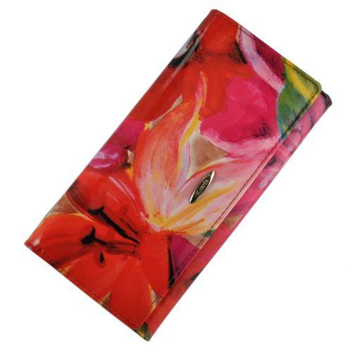 Женский кошелек лилиевый сад кожаный