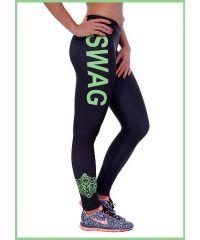 Спортивные лосины SL1791 зеленая надпись Swag