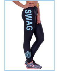 Спортивные лосины SL1891 голубая надпись Swag