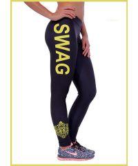 Спортивные лосины SL2091 желтая надпись Swag