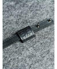 Кожаный ремешок на кобурних застежках 1,5 см черный кайзер