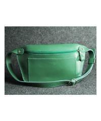 Кожаная сумка Лодочка зеленая кайзер