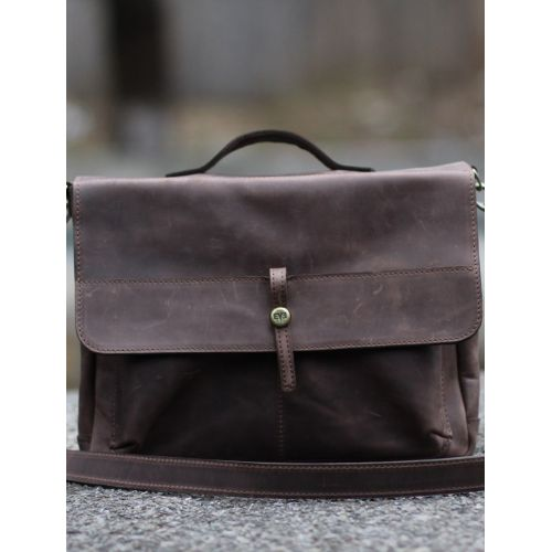 Кожаная сумка Эм-S коричневая крейзи хорс