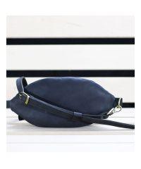 Кожаная сумка Кофе синяя крейзи хорс