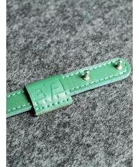 Кожаный ремешок на кобурних застежках 1,5 см зеленый кайзер