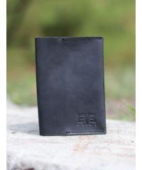 Кожаная обложка для паспорта синяя крейзи хорс