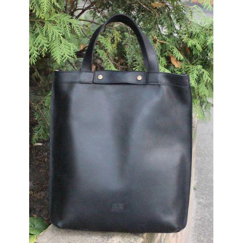 Кожаная сумка - рюкзак Черепаха черная крейзи хорс