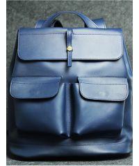 Кожаный рюкзак Боббер синий кайзер