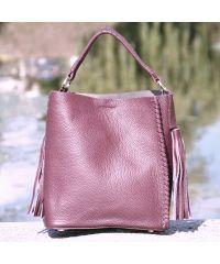 Кожаная сумка 1008 будгунди