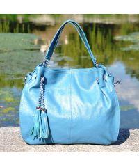 Кожаная сумка 1702 бирюзовая