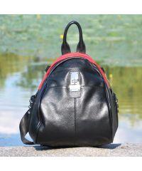 Кожаная сумка-рюкзак 3008 черная