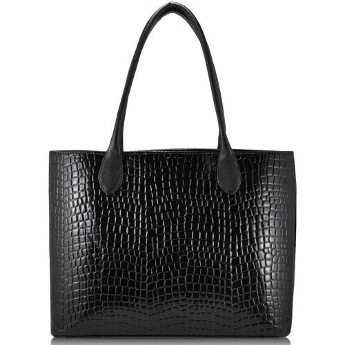 Женская сумка 35222 Crocodile черная