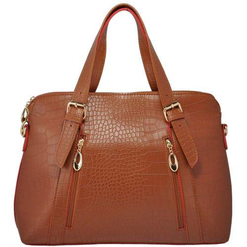 Женская сумка 35209 крокодил коричневая