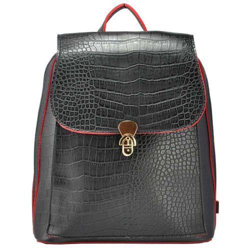 Женский рюкзак 35206 крокодил черный