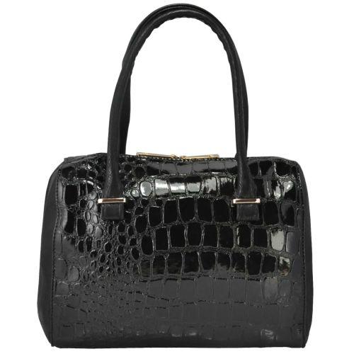 Женская сумка 35102 крокодил черная