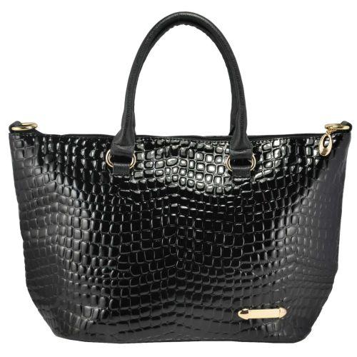 Женская сумка 35216 крокодил черная