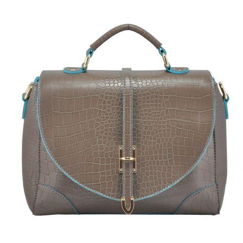 Женская сумка 35213 Crocodile серая с голубым
