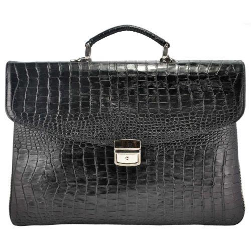 Мужской портфель M64 Crocodile кожаный черный