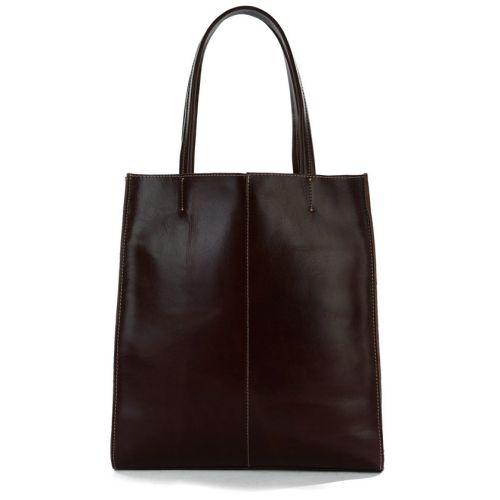 Женская кожаная сумка RealTote коричневая