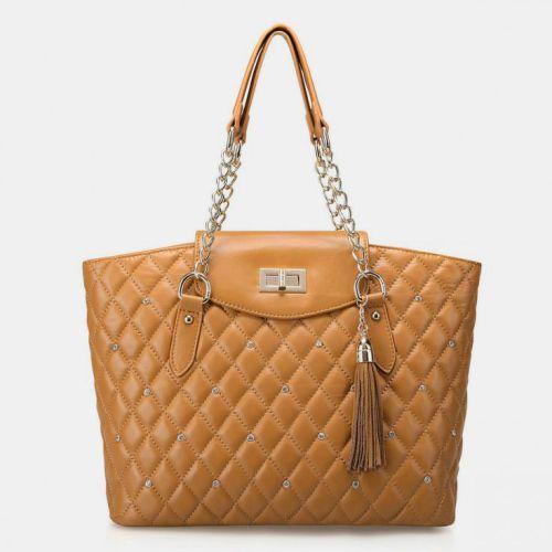 Женская кожаная сумка Goddess бежевая
