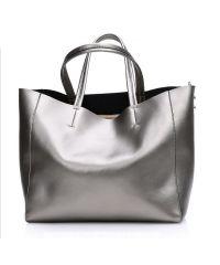 Женская кожаная сумка Silver серебристая
