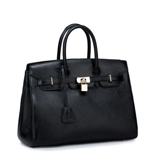 Женская кожаная сумка Hemes черная