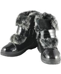 Женские ботинки с натуральным мехом черные