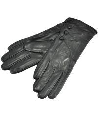 Женские перчатки пуговицы черные