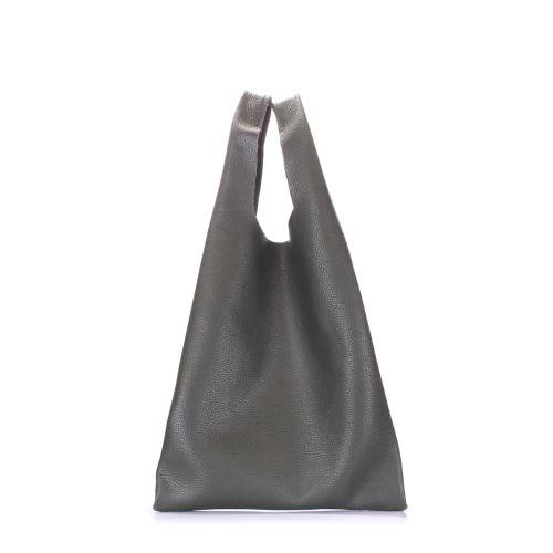 Женская кожаная сумка poolparty-leather-tote-khaki зеленая