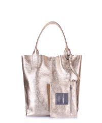 Женская кожаная сумка POOLPARTY podium-gold золотая
