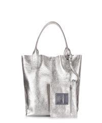 Женская кожаная сумка POOLPARTY podium-silver серебро