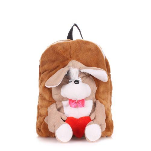 Детский рюкзак POOLPARTY с собакой kiddy-backpack-dog-brown