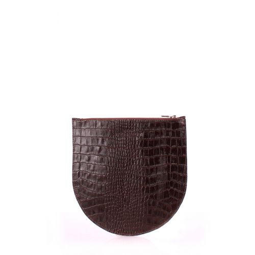 Кожаная косметичка-клатч POOLPARTY cosmetic-pp1-croco-brown